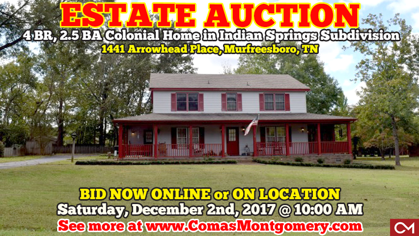 Estate, Auction, Home, House, Homes, Houses, For Sale, Real Estate, Buy, Murfreesboro, Tennessee, Indian, Springs, Arrowhead, Place, Fudge, Comas, Montgomery, Colonial
