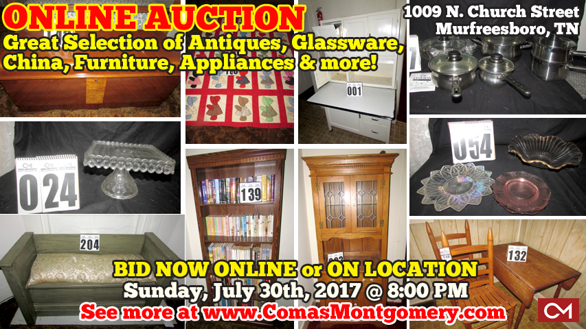 AUCTION, Murfreesboro, Tennessee, Antiques, Glassware, China, Porcelain, Dolls, Collectibles, Furniture, Appliances, Yard, Equipment, Tools, Bid, Online