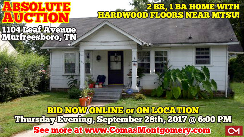 Absolute, Auction, Real Estate, For Sale, Investment, House, Home, Mufreesboro, Tennessee, MTSU, Middle Tennessee, College, Rental, Income, Landlord, Hardwood, Floors, Houses, Homes, Auctions, Listings, Comas, Montgomery