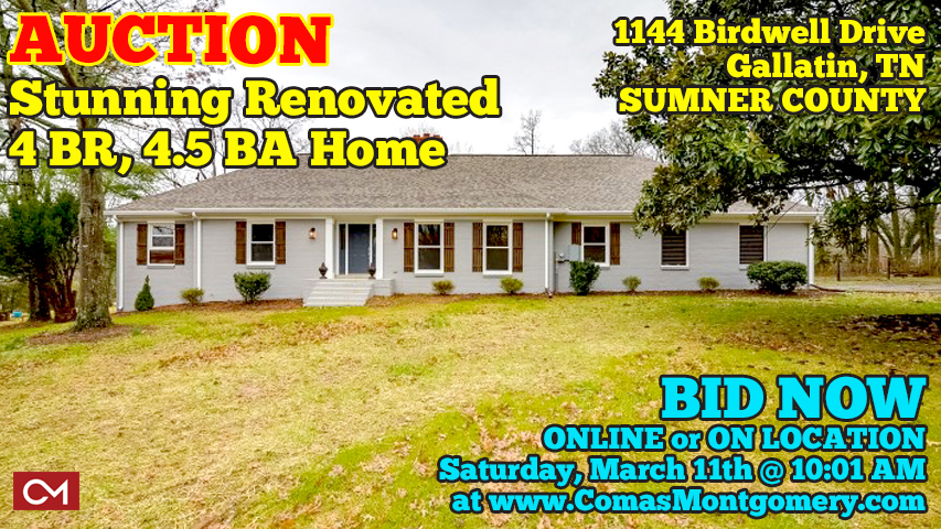 Real Estate, For Sale, Auction, Bidding, Online, Live, Birdwell, Drive, Home, House, Renovated, Basement, Full, 4 Bedrooms, Gallatin, Tennessee, Sumner, County, Nashville, Comas, Montgomery