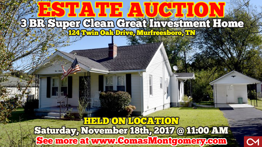Estate, Sale, Auction, Home, House, Houses, Homes, Murfreesboro, Tennessee, For Sale, Twin, Oak, Annie, Hand, Comas, Montgomery, Real Estate, Auctions, Investment, Property