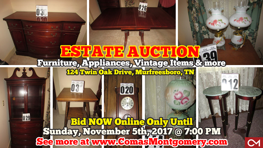 Estate, Auction, Personal, Property, Sale, Murfreesboro, Tennessee, Furniture, Appliances, Vintage, Tools, Comas, Montgomery
