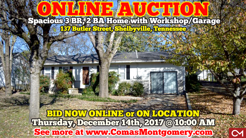 Online, Auction, Real Estate, Home, Homes, House, Houses, For Sale, Investment, Fixer Upper, Flipping, Shelbyville, Tennessee, Bedford, County, Butler, Hwy 231, Murfreesboro, Nashville, Comas, Montgomery
