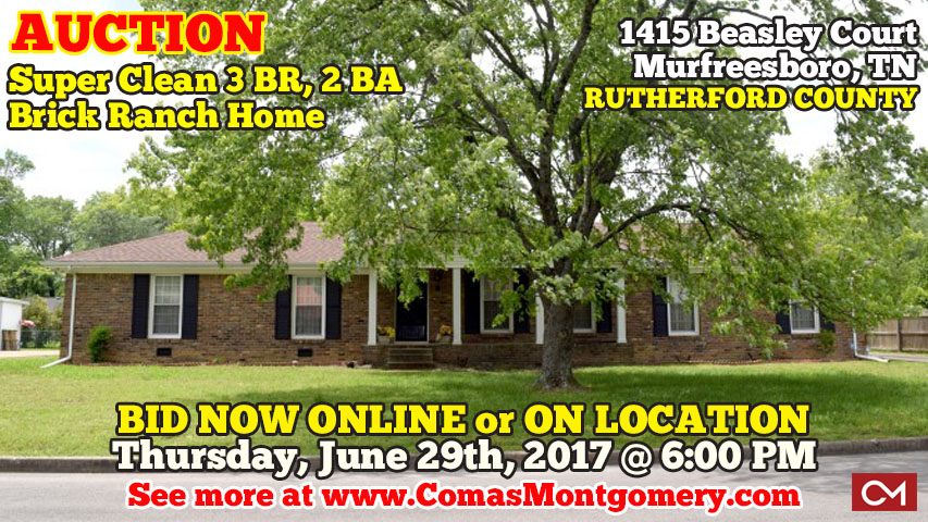 Auction, House, Home, 3 Bedroom, 2 Bath, Murfreesboro, Tennessee, Beasley, Court, Hazel, Coppage, Estate, Sale, For Sale, Investment, Property, Garage, Fireplace, Hardwood, Floors, MTSU, Middle Tennessee