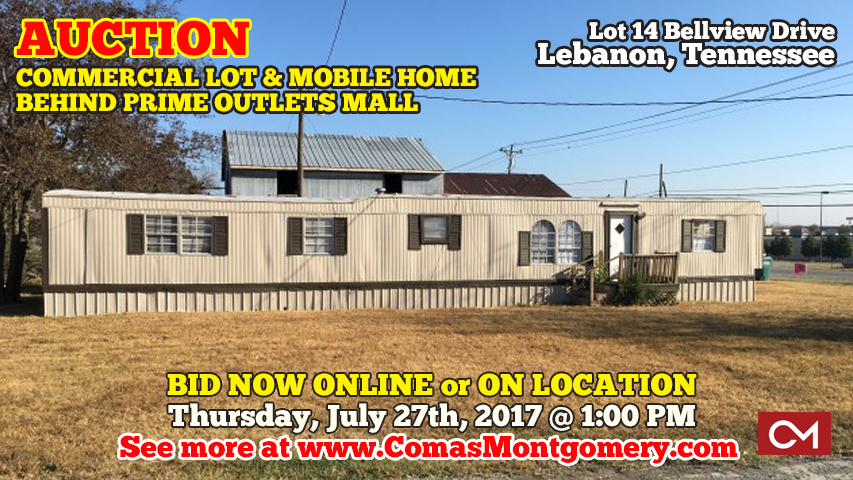 Commercial, Lot, Land, Tract, Property, Mobile, Home, Zoned, CS, Prime, Outlets, Mall, Lebanon, Tennessee, Real Estate, Auction, Bid, Online, Bellview, Murfreesboro, Nashville, Interstate, I-40, Investment, Potential, Office, Retail, Shopping, Wilson, County
