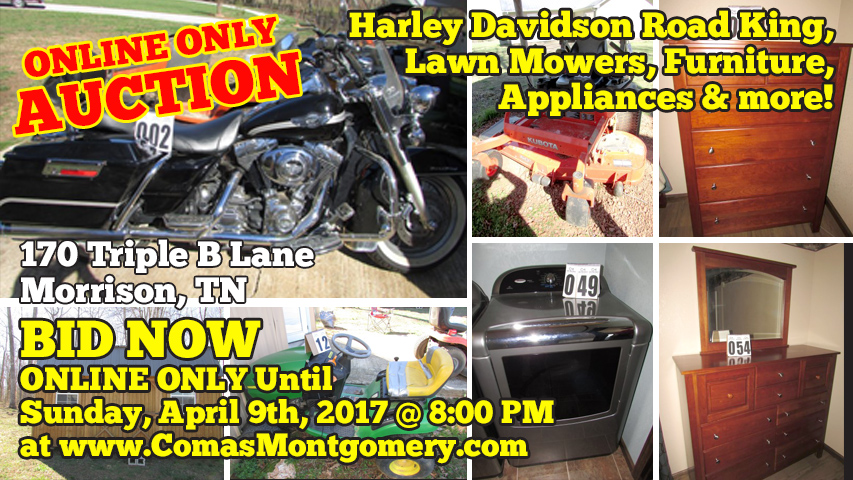 Auction, Online, Morrison, Tennessee, Personal, Property, Kubota, John Deere, Harley Davidson, Motorcycle, Farm, Equipment, Lawn Mower, For Sale, Comas, Montgomery, Furniture, Appliances, Tools, Tiller, Trailer