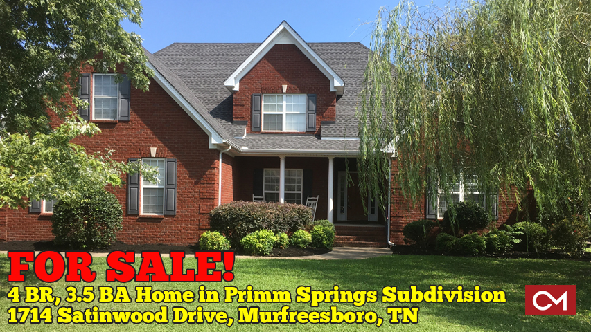 Home, House, For Sale, Primm, Springs, Subdivision, Satinwood, 4 Bedrooms, Murfreesboro, Real Estate, Listing, Comas, Montgomery