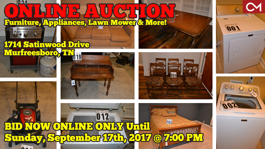 Online, Auction, Personal, Property, Furniture, Appliances, Grill, Lawn, Mower, Maytag, Washer, Dryer, Freezer, Comas, Montgomery, Murfreesboro, Tennessee, Shopping, Shop, Buying, For Sale, Sale