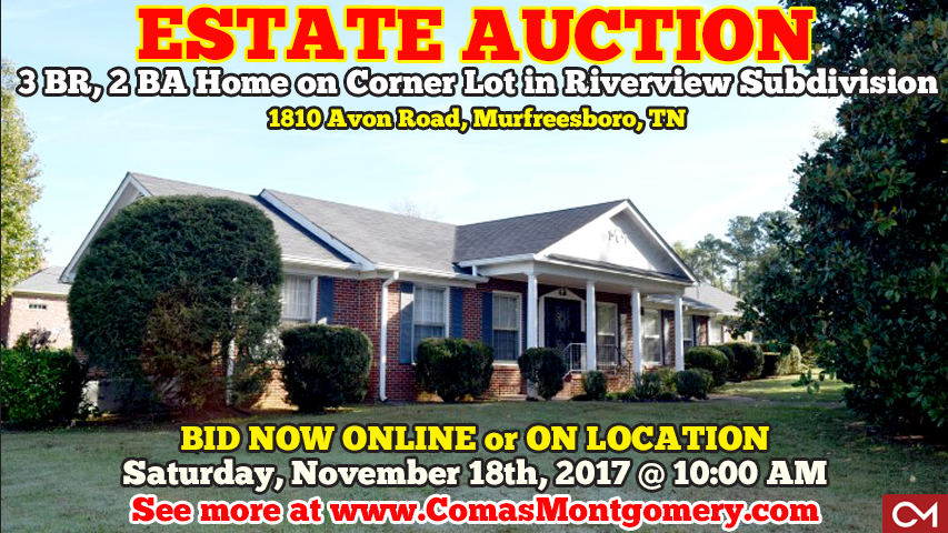 Estate, Auction, Real Estate, Home, House, Houses, Homes, For Sale, Riverview, Subdivision, Avon, Road, Helen, Smith, Corner, Lot, Comas, Montgomery