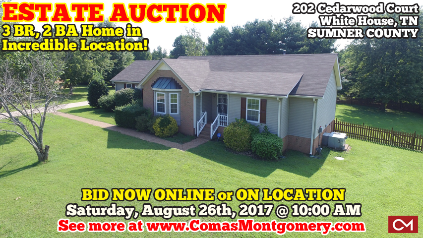 Auction, Home, House, Real Estate, For Sale, Cedarwood, Cedar, Brook, Subdivision, White House, Tennessee, Nashville, Sumner, County, Property, Comas, Montgomery