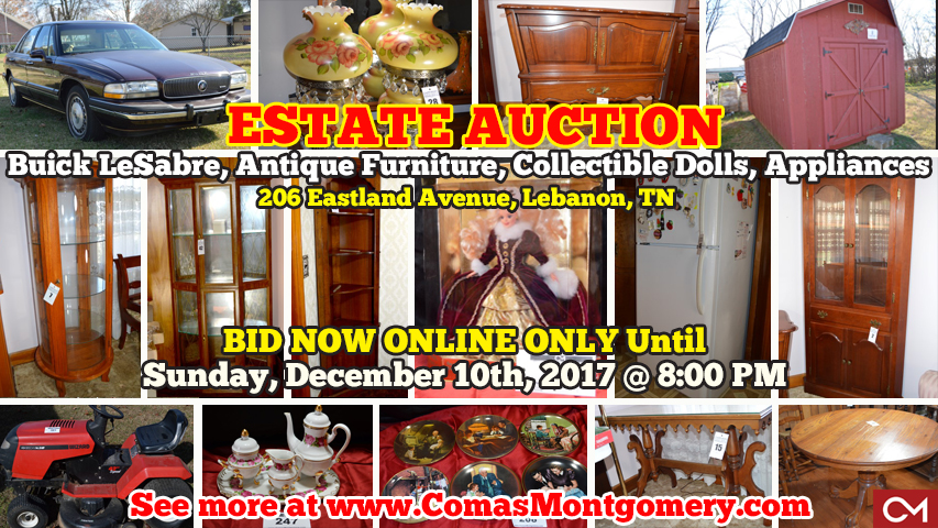 Estate, Auction, Hesson, Eastland, Lebanon, Tennessee, Nashville, Used Car, Car, Automobile, For Sale, Buick, Antiques, Furniture, Lamps, Art, Collectibles, Dolls, Barbie, Maxine, Alexander, Plates, Hummel, Norman, Rockwell, Appliances, Tools, Comas, Montgomery