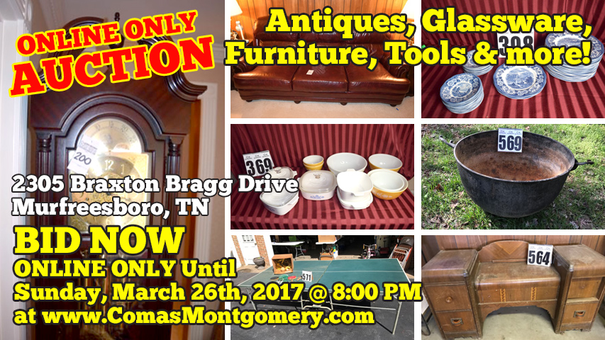 Auction, Estate, Furniture, Glassware, Kitchenware, Pyrex, Dishes, China, Antiques, Milk Glass, Glass, Grandfather, Clock, Tools, Ping Pong Table, Red Glass, Murfreesboro, Tennessee, Comas, Montgomery