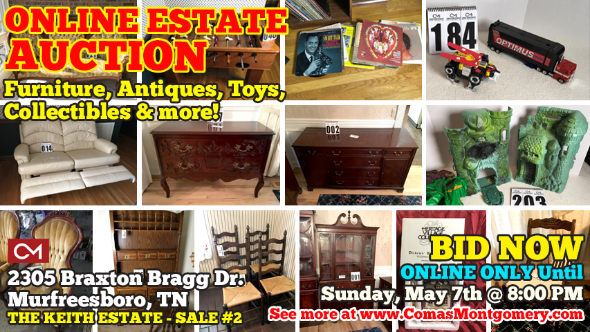 Estate, Auction, Keith, Braxton, Bragg, Toys, Collectibles, Furniture, Antiques, Side Table, Buffet, China Cabinet, Couch, Sofa, He-Man, Transformers, Voltron, Dickens, Department 56, Heritage Collection, Avon, Figurines, Action Figures, 1980s, Ghostbusters, G.I. Joe, Comas, Montgomery