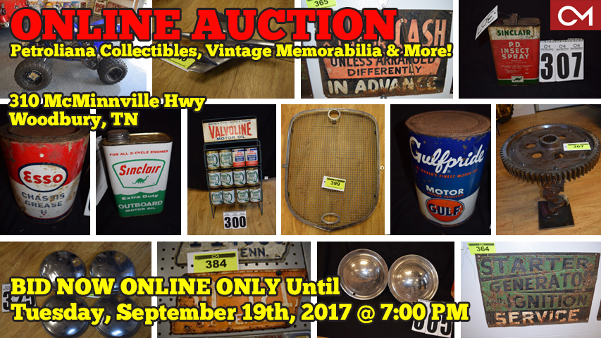 Auction, Online, Bidding, Collectibles, Petroliana, Memorabilia, Esso, Sinclair, Gulf, Vintage, Oil, Cans, Signs, Motorcycle, Harley, Yamaha, ATV, For Sale, Parts, Antiques, Cars, Automobiles, Murfreesboro, Woodbury, Tennessee, Comas, Montgomery