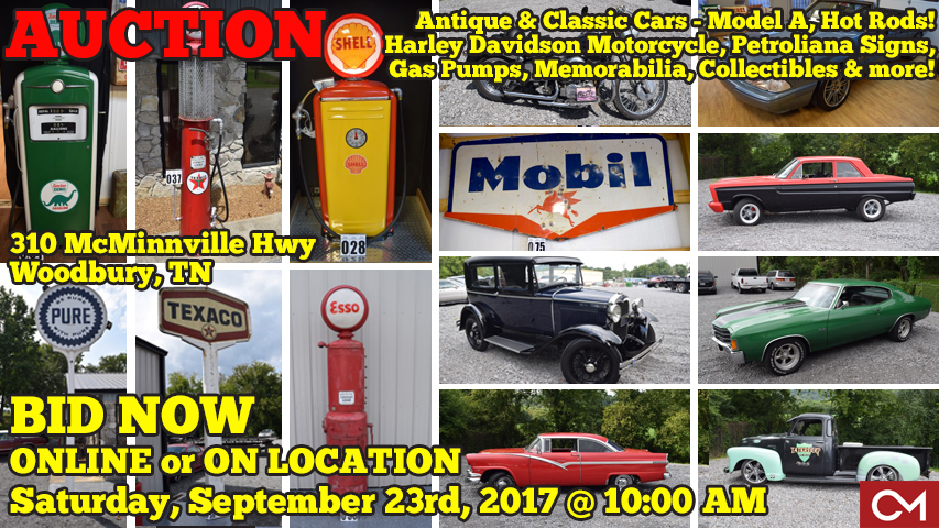 Auction, Online, On Site, Woodbury, Murfreesboro, Nashville, Middle, Tennessee, Petroliana, Cars, Automobiles, Vintage, Classic, Hot Rod, Model A, Motorcycle, Harley, Davidson, Gas, Pumps, Shell, Esso, Texaco, Sinclair, Pure, Mobil, Coca Cola, Signs, Metal, Antique, Antiques, For Sale, Bidding, Chevelle, Chevrolet, Ford, Mustang, Convertible, Used, Victoria, Fairlane, Falcon, Collectible, Collectibles, Investment, Comas, Montgomery