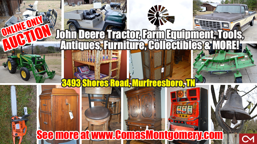 Auction, Personal, Property, Tractor, John Deere, Truck, Used, Car, Club Car, Carryall, Bunk Bed, Antiques, Furniture, Collectibles, Windmill, Estate, Sale, Auction, Murfreesboro, Tennessee, Comas, Montgomery