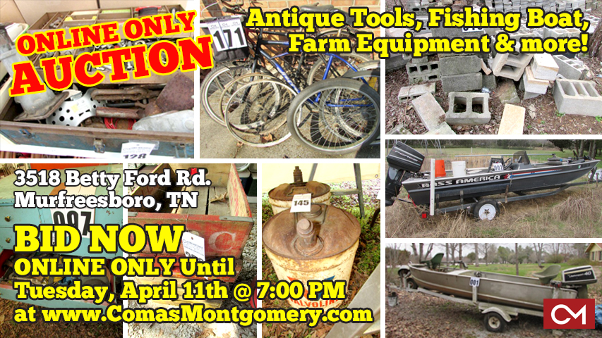 Auction, Estate, Equipment, For Sale, Fishing, Boat, Metal, Scrap, Tools, Vintage, Antique, Machinery, Outdoor, Murfreesboro, Tennessee