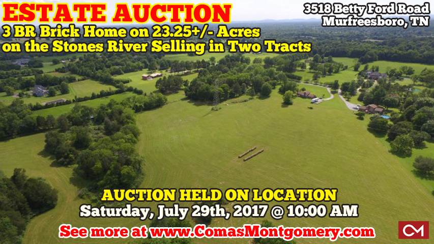 Estate, Auction, Land, Acres, Tract, Home, House, Farm, Betty Ford, Bill, William, Minic, Real Estate, Murfreesboro, Tennessee, Investment, Property, Build, Dream, Construction