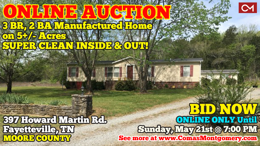 Auction, Real Estate, Mobile, Manufactured, Home, House, Permanent, Foundation, Fayetteville, Tennessee, Lynchburg, Winchester, Moore, Franklin, Lincoln, County, Tullahoma, Manchester, Comas, Montgomery, Acres, Land, Howard, Martin, Road