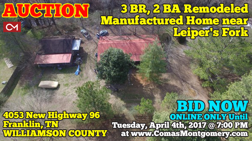 Auction, Leiper, Fork, Franklin, Tennessee, Williamson, County, Renovated, Manufactured, Home, House, Land, Acres, Tract, Investment, Hwy, Highway, 96, Road, Frontage, For Sale, Real Estate, Property, Comas, Montgomery