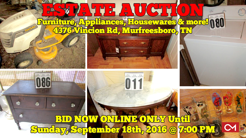Estate, Auction, Cub Cadet, Mower, Furniture, Appliances, Collectibles, Murfreesboro, Tennessee, Comas, Montgomery