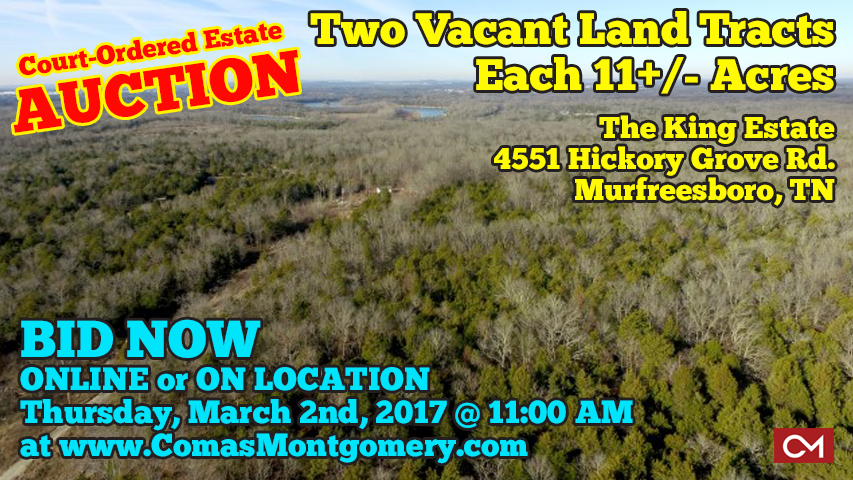 Estate, Auction, Land, Tracts, Acres, Vacant, Hickory, Grove, Murfreesboro, Tennessee, Comas, Montgomery
