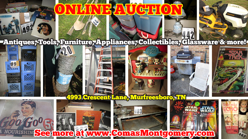 Online, Auction, Estate, Sale, Liquidation, For Sale, Tools, Lawn Mower, Appliances, Furniture, Electronics, Collectibles, Star Wars, Star Trek, Vintage, Comics, Cards, Baseball Cards, Supplies, Totes, Plastic, Bins, Pallets, Retail, Store, Comas, Montgomery, Murfreesboro, Tennessee, Nashville