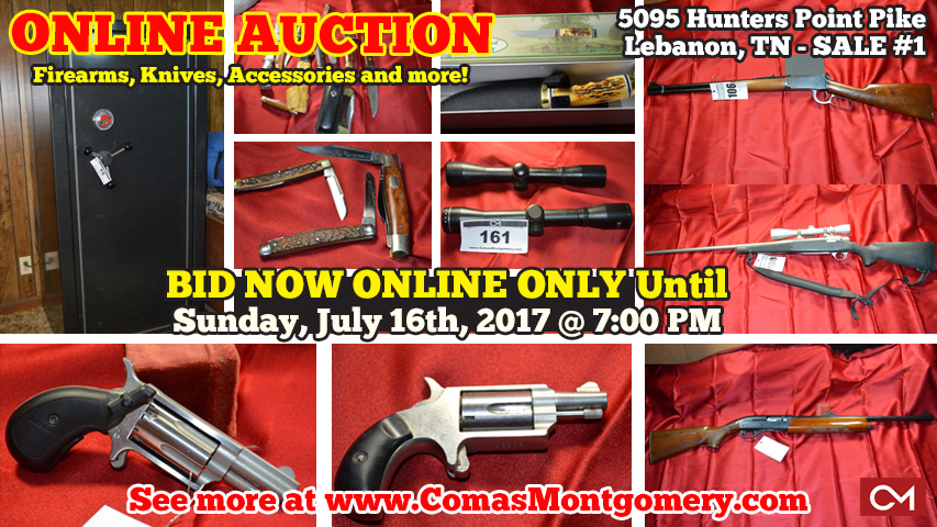 Auction, Gun, Guns, Firearms, Firearm, Knives, Collectibles, Rifles, Rifle, Antique, Vintage, Safe, Gun Safe, Scope, Revolver, Comas, Montgomery, Bid, Online