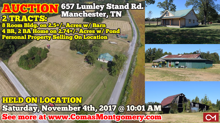 Lumley, Stand, Manchester, Tennessee, Auction, Real Estate, Land, Acres, Tract, House, Home, Houses, Homes, Barn, Farm, Farms, For Sale, Coffee, County, Investment, Property, Comas, Montgomery