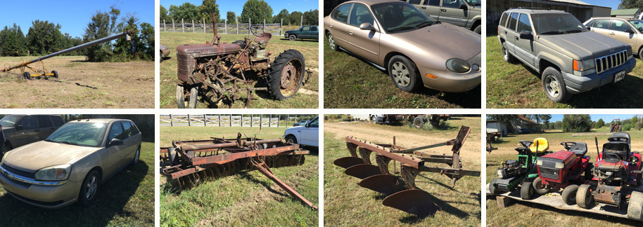 Auction, Farm, Equipment, Used, Car, Vehicles, Jeep, Cherokee, Maliby, Chevrolet, Ford, Taurus