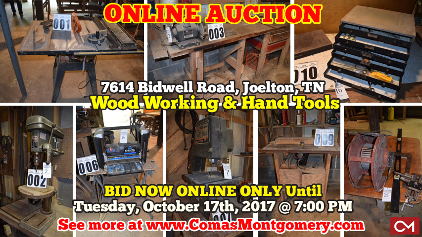 Joelton, Tennessee, Nashville, Personal, Property, Auction, Auctions, Estate Sale, Tools, Wood, Woodworking, Wood Working, Drill Press, Bench Grinder, Rivet, Saw, Toolbox, Tool, Drill, Bits, Press, Hooks, Grinder, Bench, Comas, Montgomery, For Sale