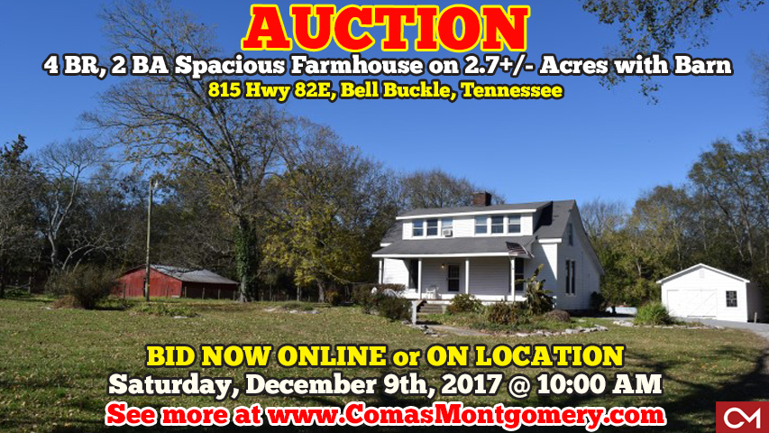 Farmhouse, House, Home, Auction, Bell Buckle, Bedford County, Shelbyville, Murfreesboro, Rural, Barn, Acres, For Sale, Comas, Montgomery