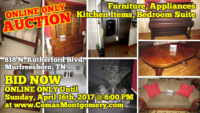 Online, Auction, Bid, Bidding, Furniture, Glassware, Kitchenware, Bakeware, Appliances, Bedroom, Suite, Downsizing, Murfreesboro, Tennessee, Toys, Collectibles, Comas, Montgomery