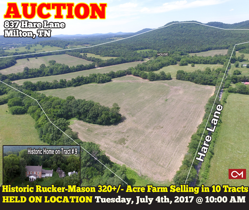 Auction, Farm, Land, Acres, Tracts, Hare, Lane, Milton, Tennessee, Rucker, Mason, Large, Historic, Home, House, Wedding, Venue, Agriculture, Murfreesboro, Nashville