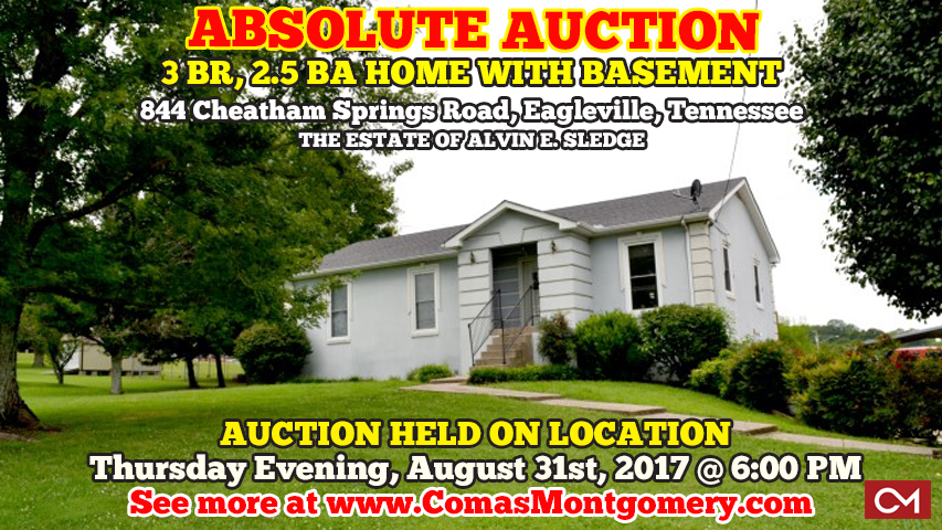 Absolute, Auction, Estate, Sale, Real Estate, Home, House, For Sale, Nashville, Tennessee, Cheatham, Springs, White House, Sumner, County, Comas, Montgomery,