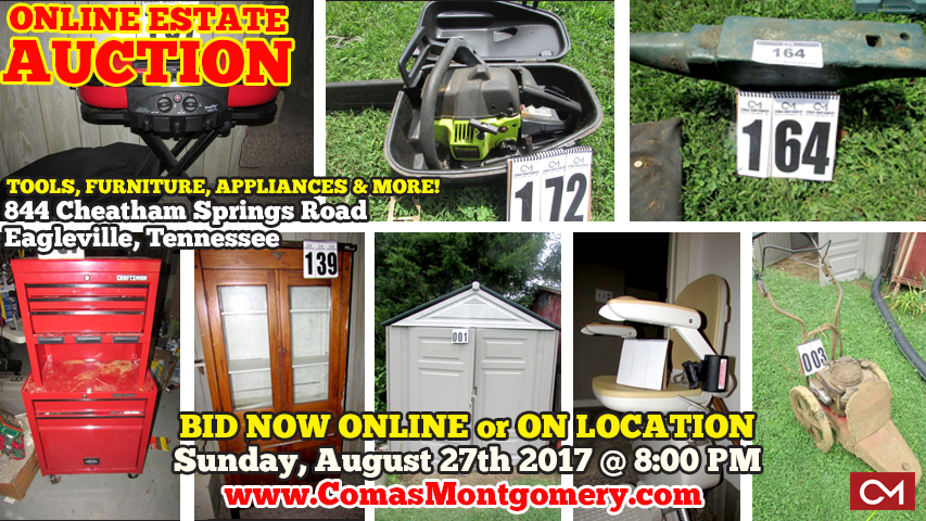 Tools, Furniture, Appliances, Collectibles, For Sale, Eagleville, Tennessee, Murfreesboro, Estate, Estate Sale, Auction, Shop, Online, Comas, Montgomery