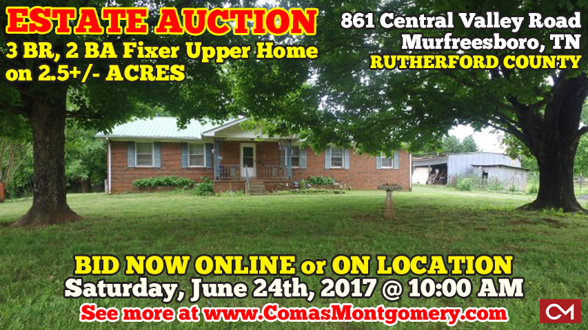 Auction, Estate, Real Estate, Tilford, Fixer, Upper, Home, House, Acres, Land, Development, Investment, Central, Valley, Liberty, Subdivision, Murfreesboro, Tennessee, Comas, Montgomery, Rutherford, County