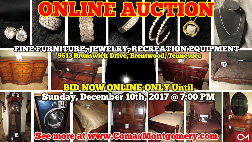 Online, Bankruptcy, Auction, Personal, Property, Furniture, Fine, Jewelry, Gold, Earrings, Rings, Necklace, Brentwood, Tennessee, Franklin, Cool Springs, Williamson, County, Nashville, Comas, Montgomery, Brunswick, Appliances, Decor, Holiday, Christmas, Halloween, Electronics, Television, TVs