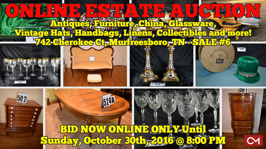 Estate, Auction, Hayes, Cherokee, Murfreesboro, Tennessee, Antiques, Furniture, Glassware, China, Collectibles, Vintage, Hats, Handbags, Purses, Fostoria, Gorham, Sterling Silver, Waterford, Royal, Doulton, Flatware
