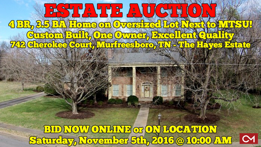 Cherokee, Court, Murfreesboro, Tennessee, Hayes, Estate, MTSU, Home, House, For Sale, Real Estate, Auction, Greenland, Rutherford, Comas, Montgomery, Custom, Lot
