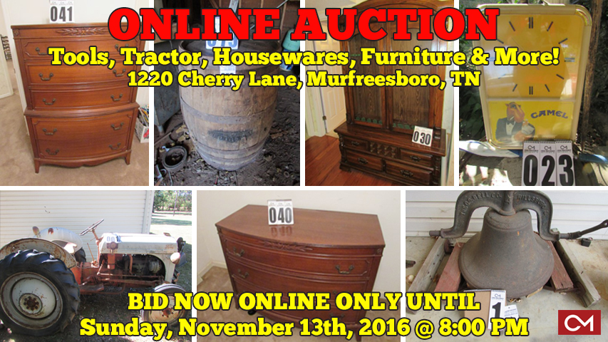 Estate, Auction, Murfreesboro, Tennessee, For Sale, Furniture, Tools, Tractor, Ford, Lawn Mower, Collectibles, Advertising Clocks, Coors, Camel, Winston, Antiques, Bedroom, Baseball, Cards, Restaurant, Equipment, Appliances, Kitchenware