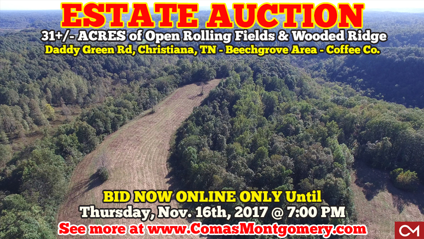 Estate, Auction, Real Estate, Tract, Acres, Land, For Sale, Secluded, Rural, Development, Investment, Beechgrove, Coffee, Rutherford, County, Christiana, Murfreesboro, Nashville, Comas, Montgomery, Tennessee