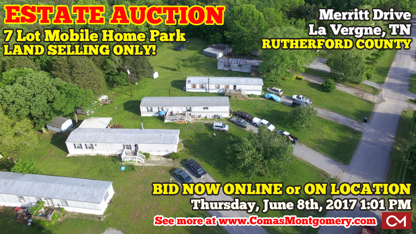 Estate, Auction, Mobile, Home, Park, Land, Acres, Polly, Aubrey, Taylor, LaVergne, La Vergne, Tennessee, Rutherford, County, Comas, Montgomery, Real Estate, Home, House, Merritt, Drive, Old, Nashville, Hwy, For Sale, Selling