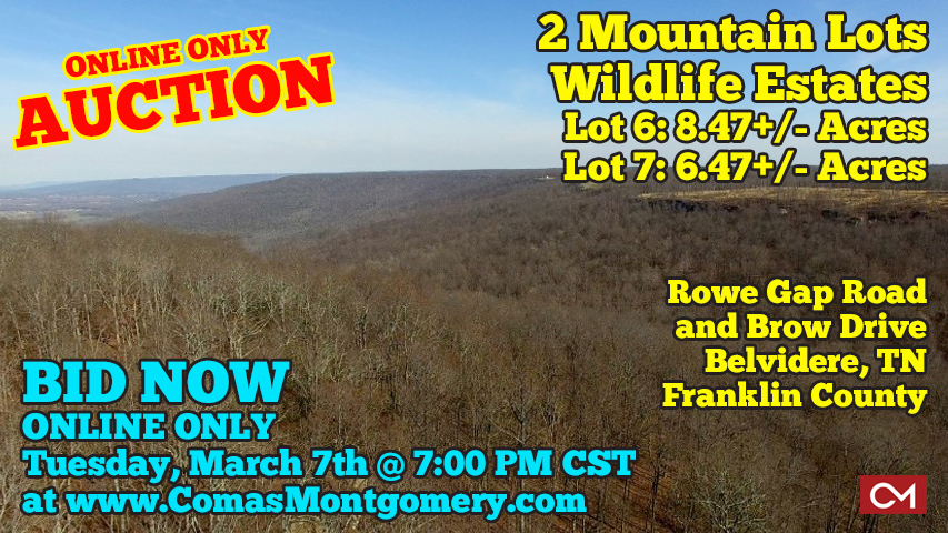 Mountain, Lots, Bluff, View, For Sale, Land, Acres, Tract, Belvidere, Tennessee, Franklin, County, Winchester, Huntsville, Alabama, Chattanooga, Nashville, Comas, Montgomery