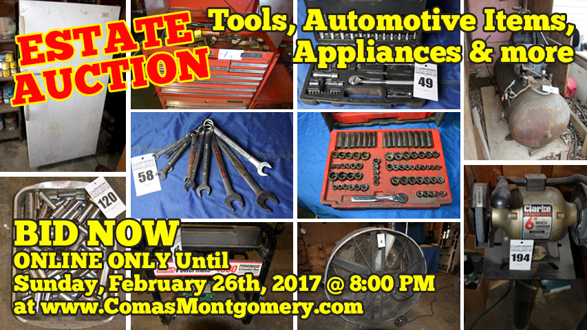 Auction, Tools, Automotive, Appliances, For Sale, Craftsman, Duralast, Equipment, Estate, Comas, Montgomery, Cimarron, Simmons, Murfreesboro, Tennessee