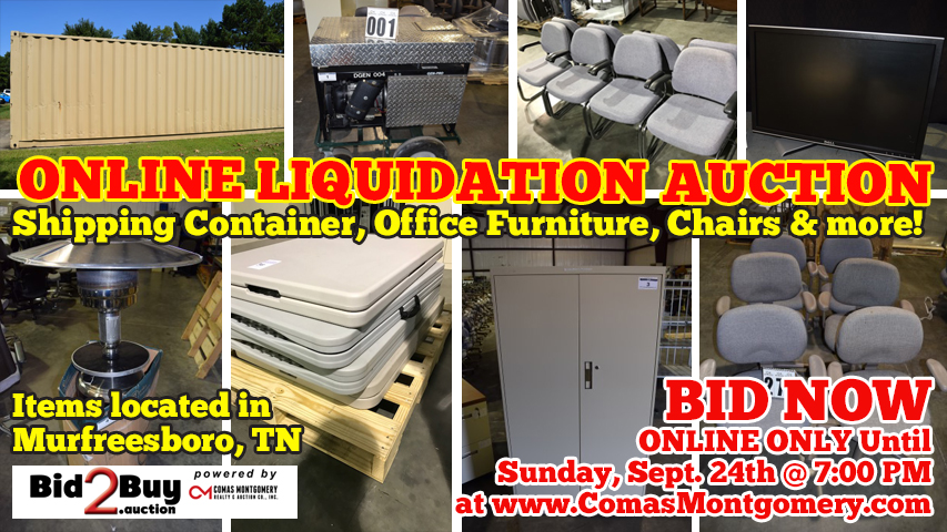 Liquidation, Business, Furniture, Chairs, Office, Supplies, Equipment, Cabinet, File Cabinet, Cabinets, Metal Cabinets, Folding, Tables, Chair, Shipping Container, Generator, Coolers, For Sale, Supplies, Auction, Online, Warehouse, Comas, Montgomery, Murfreesboro, Nashville, Tennessee
