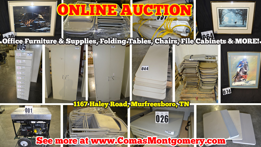 Warehouse, Auction, Office, Furniture, Cabinets, File, Cabinet, Safe, Desk, Framed, Art, Print, Painting, Decor, Wall, Lights, Tents, Tent, Folding, Chair, Chairs, Table, Tables, Supplies, Equipment, Murfreesboro, Tennessee, Comas, Montgomery