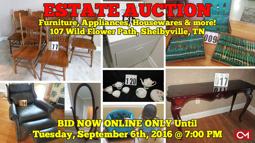 Estate, Auction, For Sale, Property, Furniture, Appliances, Collectibles, Antiques, Shelbyville, Tennessee, Comas, Montgomery, Caffey