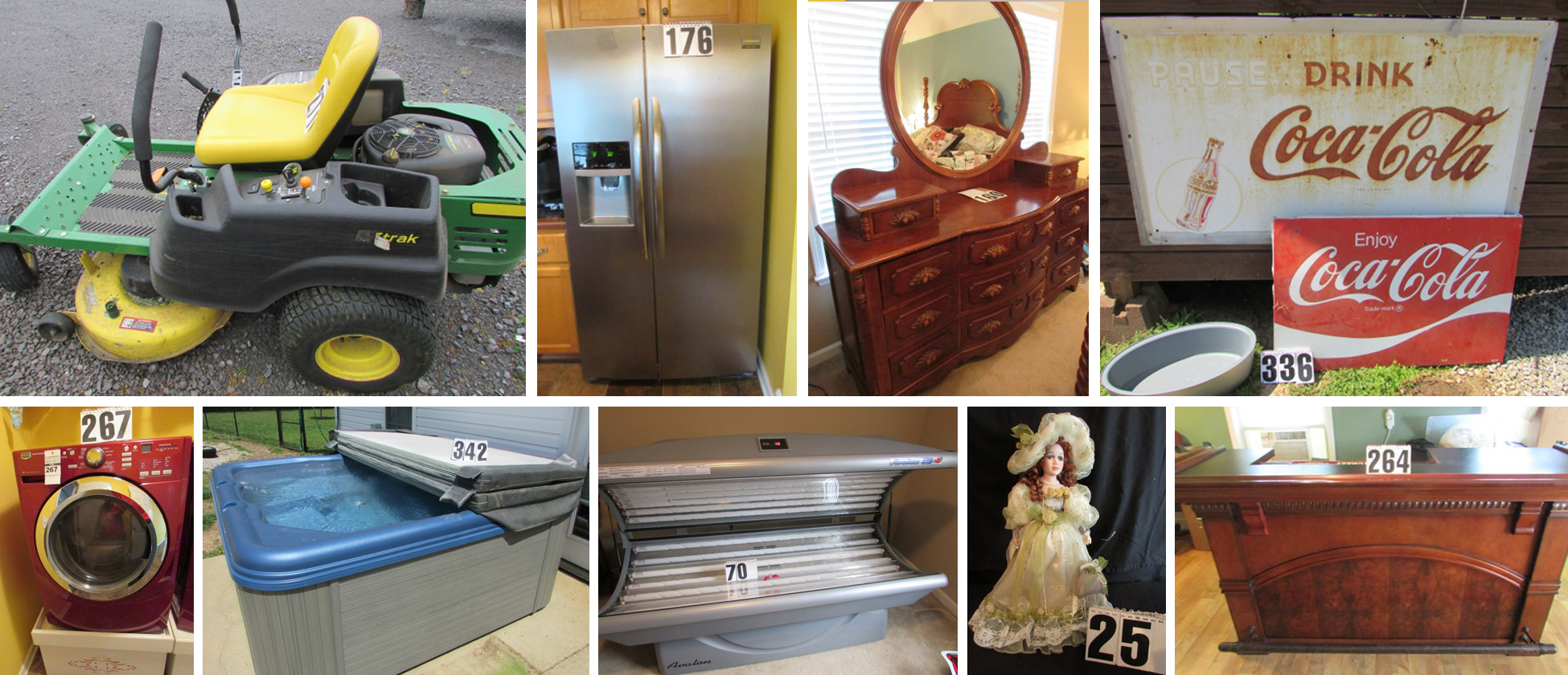 Auction, For Sale, Furniture, Appliances, TV, John Deere, Zero Turn, Lawn Mower, Hot Tub, Tanning Bed, Frigidaire, Refrigerator, Maytag, Washer, Dryer, Coca-Cola, Collectibles, Budweiser, Coors Light, Nascar, Dale Earnhardt, Porcelain Dolls, For Sale, Bid, Online, Bidding, Comas, Montgomery, Murfreesboro, Christiana, Tennessee