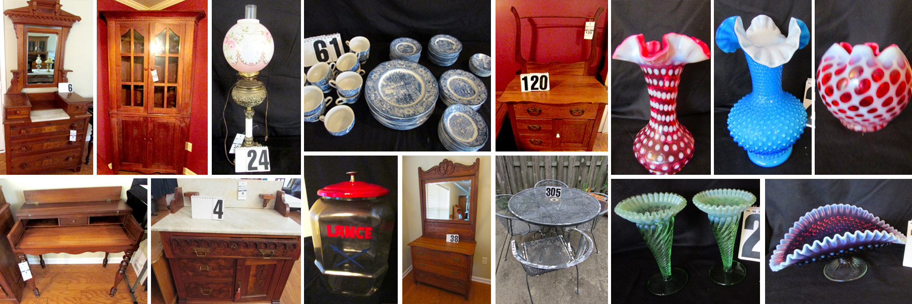 Estate Auction Antique Furniture Fenton Glassware Collectibles Comas Montgomery Realty